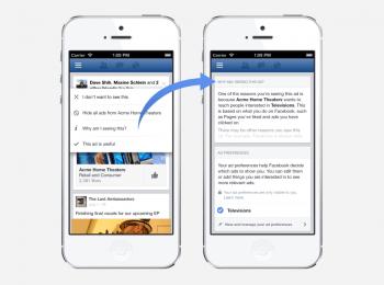Ein Popup-Menü liefert bei Facebook künftig zusätzliche Informationen und Steuerungsmöglichkeiten für die Werbung.