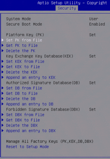 UEFI Secure Boot Datenbanken