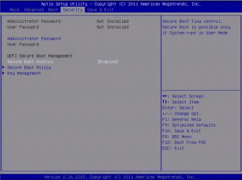 BIOS-Setup UEFI Secure Boot