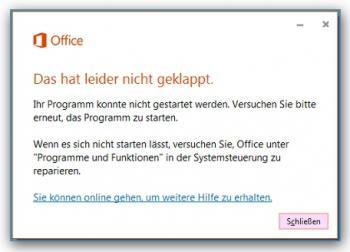 Der Vorschlag, eine Office-Reparatur durchzuführen, kann Word, Excel & Co. nicht wiederbeleben.
