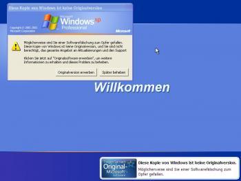 Fehlermeldung nicht lizenziertes Windows XP
