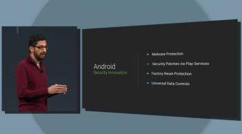Android-Chef Sundar Pichai zeigte auf der Google I/O auch einige neue Sicherheitsfeature von Android L.