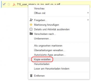 """Mit einem Rechtsklick auf die Datei und """"Kopie erstellen"""" legt man laut Google ein Duplikat an, das nicht von dem Datenleck betroffen ist."""