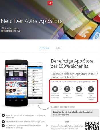 """Um den """"einzigen sicheren App Store"""" benutzen zu können, muss man Android unsicher konfigurieren."""