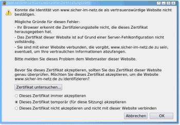 Firefox beschwert sich über das Zertifikat
