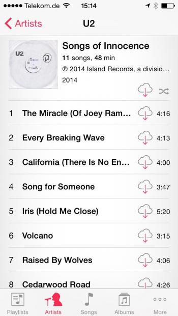 """Werden """"alle Musikdateien"""" angezeigt, bleibt auch das U2-Album zwangsweise eingeblendet"""