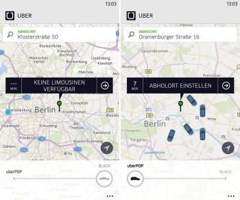 UberBlack (Limousinen-Service) und UberPop (privater Mitfahr-Dienst) in der App von Uber