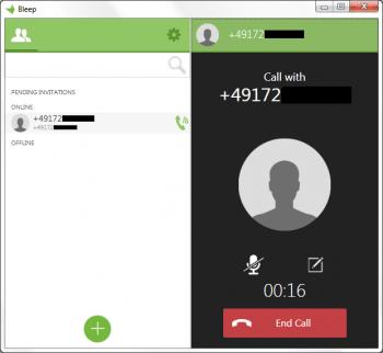 Mit Bleep kann man auch verschlüsselt telefonieren (hier unter Windows).