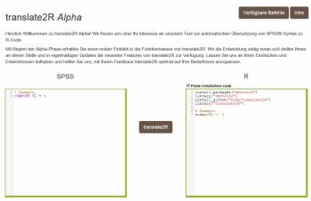 Browserfrontend von translate2R