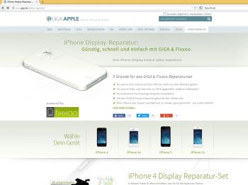 """Im September warben Giga und Fixxoo noch mit """"hochwertigen Original-Ersatzteilem"""" für iPhones (Screenshot vom 1.9.2014)."""