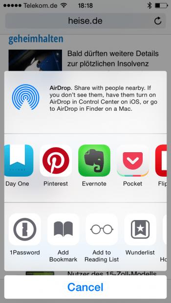 Extensions sollen in iOS 8.1.1 endlich die vom Nutzer festgelegte Reihenfolge bewahren