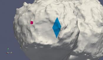 In dem pinken Fleck fand die erste Landung statt, in dem blauen die zweite und dritte.