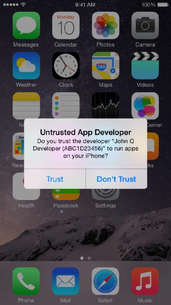 Die Vertrauensfrage beim Öffnen von Apps, die nicht aus dem App Store stammen