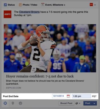 """""""Mindestens haltbar bis ..."""" – Seitenbetreiber können Facebook-Einträge mit einem Verfallsdatum versehen."""