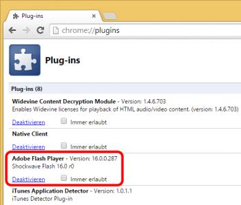 Den in Chrome enthaltenen Flash-Player muss man separat deaktivieren.