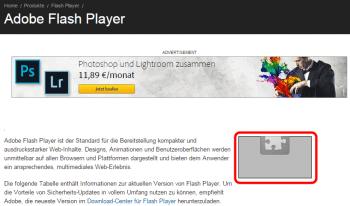 Sieht man auf der Adobe-Testseite im rot markierten Bereich nur einen Platzhalter, hat man den Flash Player erfolgreich deaktiviert. Wenn er noch läuft, steht dort seine Versionsnummer.