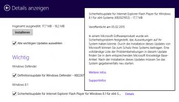 Microsoft verteilt das Flash-Update als KB3021953 via Windows Update. Es kümmert sich allerdings nur um den Internet Explorer, separate Flash-Installation (etwa für Firefox) muss man selbst pflegen.