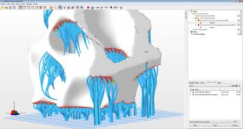 Die 3D-Druckersoftware netfabb fügt in der Professional-Version auf Wunsch Stützstrukturen für überhängende Partien des Druckobjekts hinzu.
