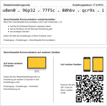 Mit dem Wiederherstellungscode kann man seinen geheimen PGP-Schlüssel bequem auf andere Geräte laden und sich das Schlüsselpasswort anzeigen lassen.
