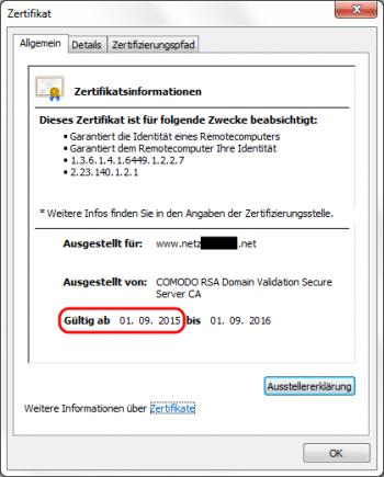 Die neuen SSL-Zertifikate sind seit dem 1. September 2015 gültig.