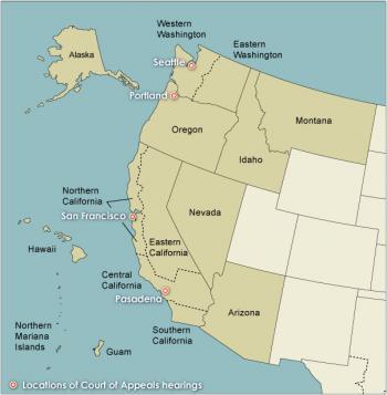 Landkarte zeigt Alaska, Arizona, Hawaii, Idaho, Kalifornien, Montana, Nevada, Oregon, Washington, Guam und die Nördlichen Marianen