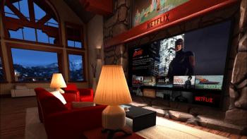 In der von uns ausprobierten Vorab-Netflix-App findet man sich in einem hübsch gerenderten Wohnzimmer wieder. Es stören noch einige Bugs.