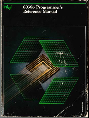 Viele Gebrauchsspuren auf dem Intel 80386 Programmer's Reference Manual von c't aus dem Jahre 1986