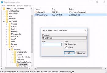 Dieser Registry-Wert aktiviert den Adware-Schutz des Defender.
