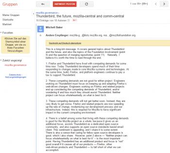 In einer langen Nachricht erklärt Mozilla-Chefin Baker, warum sich Mozilla von Thunderbird trennen sollte.