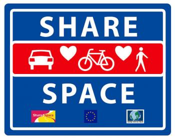 "Schild ""Shared Space"""