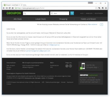 Keine Deals mehr: Groupon hat seine Websites in Österreich und in der Schweiz geschlossen.