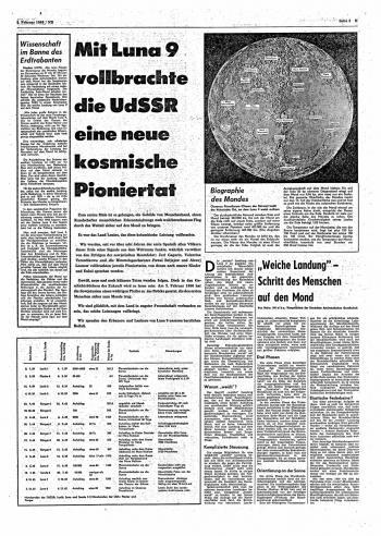 Das Neue Deutschland zu der historischen Landung