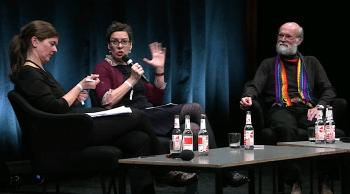 Isabell Lorey, Jeanette Hofmann und David Lyon auf dem Podium.