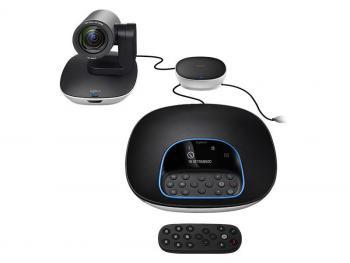 Das Videokonferenzsystem GROUP von Logitech besitzt eine per Fernbedienung schwenk- und zoombare Kamera sowie separate Mikrofone für bis zu 20 Teilnehmer.