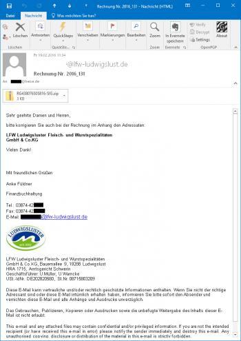 Am Freitagmorgen verschicken die Online-Erpresser massiv Mails im Namen eines Lugwidgsluster Wurstherstellers.