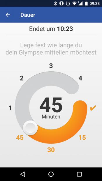 Die Dauer eines Glympse ist auf maximal 4 Stunden begrenzt.