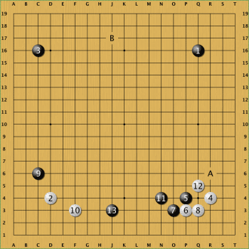 Lee Sedol (Weiß) beginnt die Partie wie die zweite und weicht erst in Zug 12 von dieser ab. Zug 12 und 13 waren in der zweiten Partie auf A und B.