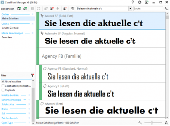 Die Vorschaufunktion des Font Managers aus der CorelDraw Graphics Suite X8 erleichtert die Suche nach passenden Schriften.