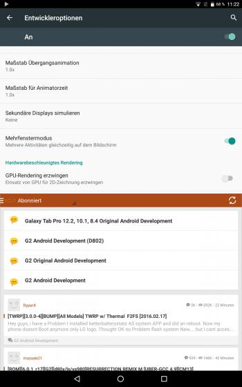 In den Entwicklereinstellungen verbirgt CyanogenMod den Mehrfenstermodus, den Google erst mit Android N einführen will.
