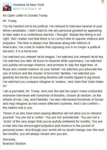 Open Letter - Donald Trump