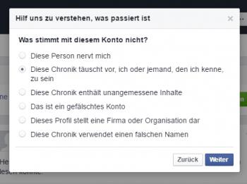 Facebook-Nutzer können Fake-Accounts melden. Künftig will Facebook solche Accounts automatisch identifizieren und Nutzer informieren, deren Identität gestohlen wurde.