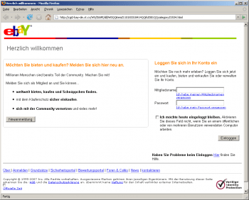 eBay-Phishing-Seite