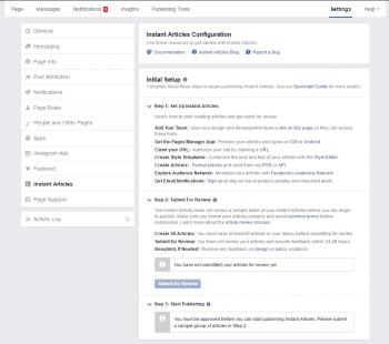 In Facebooks Seitenmanager verwaltet der Publisher seine Instant Articles.
