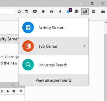 Neue Funktionen per Klick: Via Firefox-Add-on lassen sich Experimente einschalten.