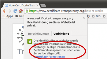 Bislang reagiert nur Chrome auf Certificate-Transaprency-Informationen.