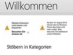 Amazon-Kunden werden unter anderem in der App über das baldige Aus informiert.
