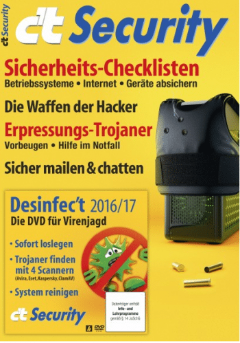 Desinfec't 2016/17 liegt der aktuellen Ausgabe des Sonderheft c't Security als Heft-DVD bei.