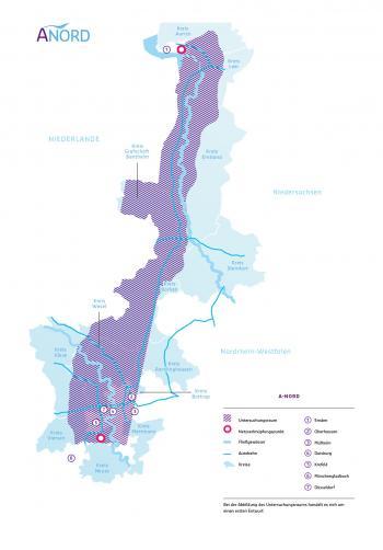 Der Bereich für die möglichen Trassenführungen bei A-Nord