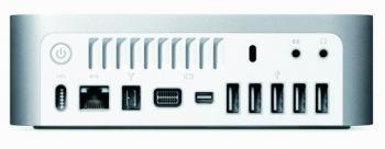 Der Mac mini hat nun fünf USB-Ports und zwei Monitorausgänge.