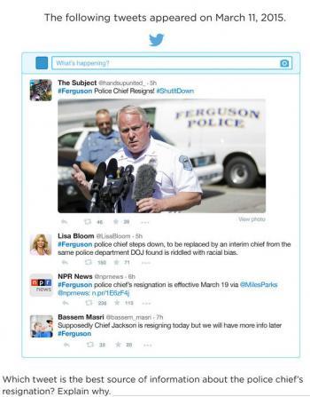 Zu diesem Bild wurden Schüler gefragt, welcher der abgebildteten Tweets am vertrauenswürdigsten sei. Mehr als die Hälfte wählte den von Lisa Bloom, nicht den der freien Radiosender NPR mit weitferführendem Link. Ein Studen habe sogar geschrieben, der erste Tweet sei am glaubwürdigsten, weil er ein Foto umfasse.